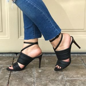 Leather Braided Woven Wrap Ankle Heel Sandals